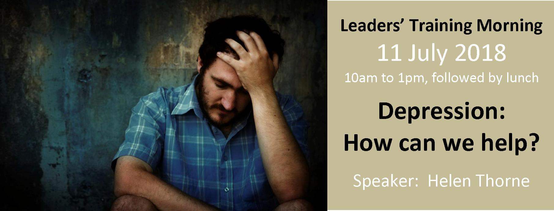 Slider - Leaders Training Mornings - 11 July 2018 - depression
