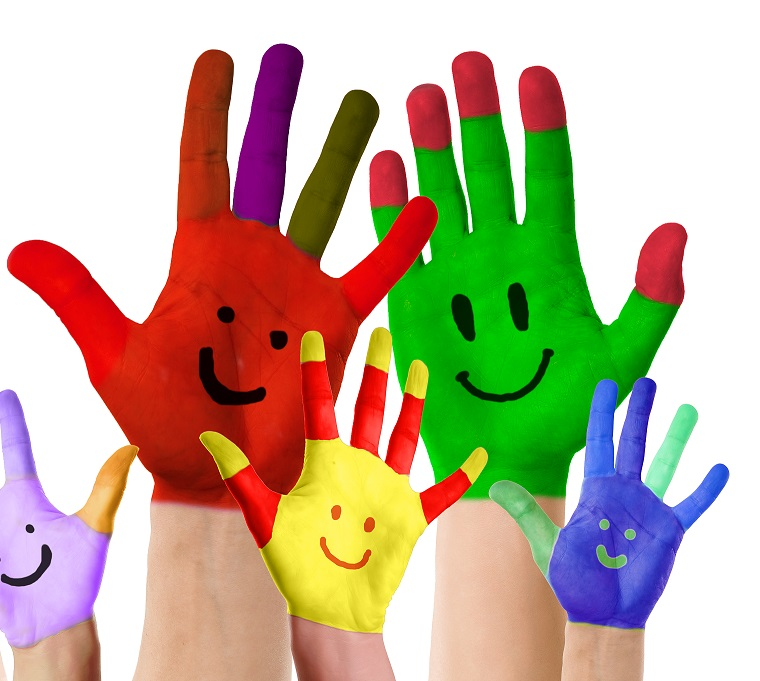 smiling colorful hands